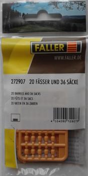 FALLER 272907 Barrels (20) & Sacks (36) 'N' Gauge Plastic Model Accessories