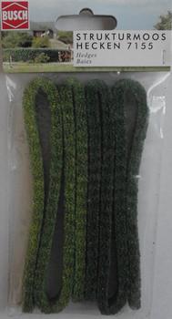 BUSCH 7155 Light & Medium Green Hedges 100cm x 1cm 'N' Gauge