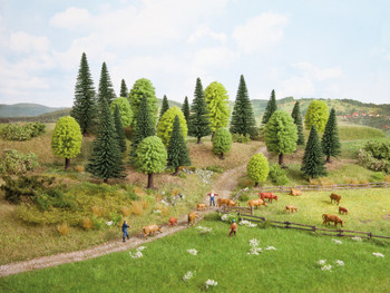 NOCH 32911 Mixed Forest Trees 3.5cm - 9cm (10) 'N' Gauge