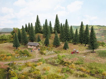 NOCH 26920 Fir Trees 5cm - 14cm (10) 00/HO Gauge