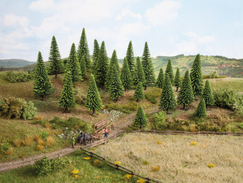NOCH 26925 Spruce Trees 5cm - 14cm (10) 00/HO Gauge