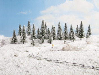 NOCH 26929 Snow Fir Trees 5cm - 9cm (5) 00/HO Gauge
