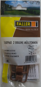 FALLER 180960 Brown Dustbins (2) 00/HO Plastic Model Kit
