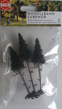 BUSCH 6114 High Trunk Spruce Trees (3) 10cm - 11.5cm 00/HO Gauge
