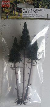 BUSCH 6118 High Trunk Spruce Trees (3) 13cm - 17cm 00/HO Gauge