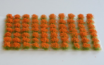 HSS 0408 - Self Adhesive 'Orange Red' Flowered Grass Tufts