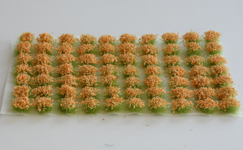 HSS 0404 - Self Adhesive 'Salmon Orange' Flowered Grass Tufts