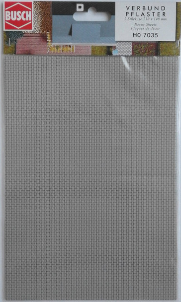 BUSCH 7035 Decor Card (Interlocking Paving Stones) 2 Sheets 210 x 148mm 00/HO