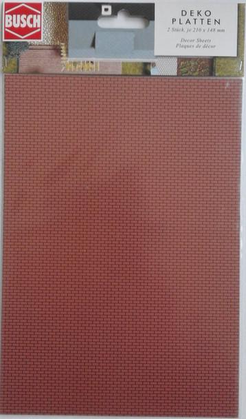 BUSCH 7038 Decor Card (Brick Wall) 2 Sheets 210 x 148mm 00/HO
