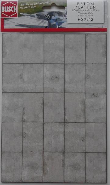 BUSCH 7412 Decor Card (Large Concrete Slabs) 2 Sheets 210 x 148mm 00/HO