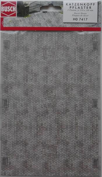 BUSCH 7417 Decor Card (Cobblestone Paving) 2 Sheets 210 x 148mm 00/HO
