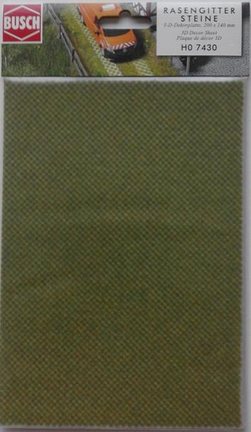 BUSCH 7430 3D Decor Card (Grassed Roadway Slabs) 1 Sheet 200 x 140mm 00/HO