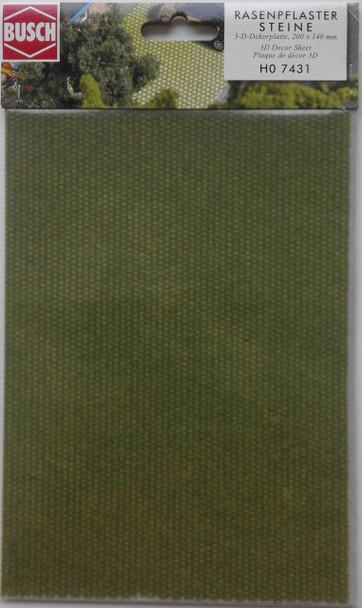 BUSCH 7431 3D Decor Card (Grassed Cobblestones) 1 Sheet 200 x 140mm 00/HO