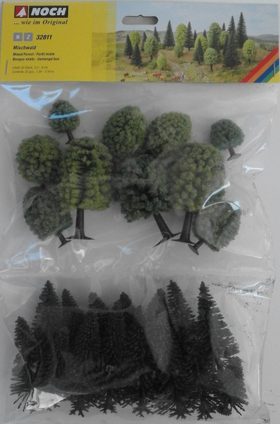 NOCH 32811 Hobby Trees - Mixed Forest 3.5cm - 9cm (25) 'N' Gauge