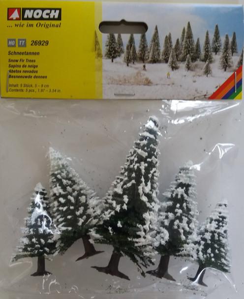 NOCH 26929 Snow Fir Trees 5cm - 9cm (5) 00/HO Gauge