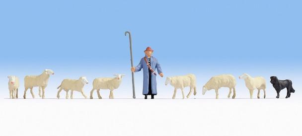 NOCH 15748 Sheep & Shepherd 00/HO Model Figures