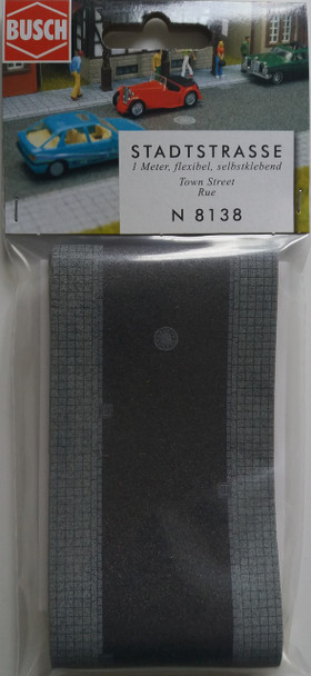 BUSCH 8138 Town Street With Footpath (Self Adhesive) 1m x 65mm 'N' Gauge