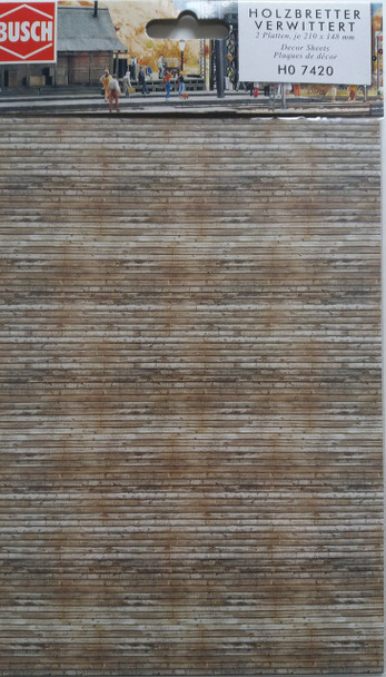 BUSCH 7420 Decor Card (Weathered Timber Planks) 2 Sheets 210 x 148mm 00/HO
