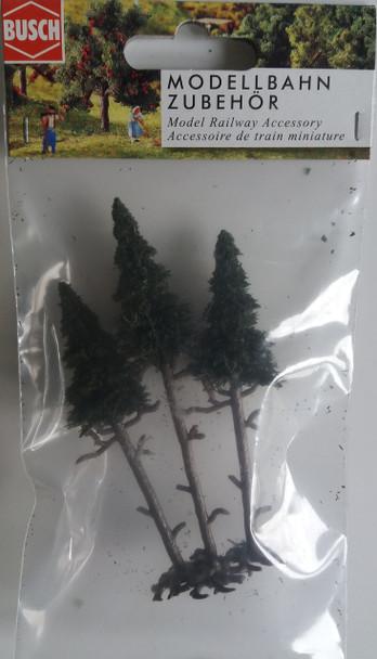 BUSCH 6114 High Trunk Spruce Trees (3) 10cm - 11.5cm 00/HO Gauge