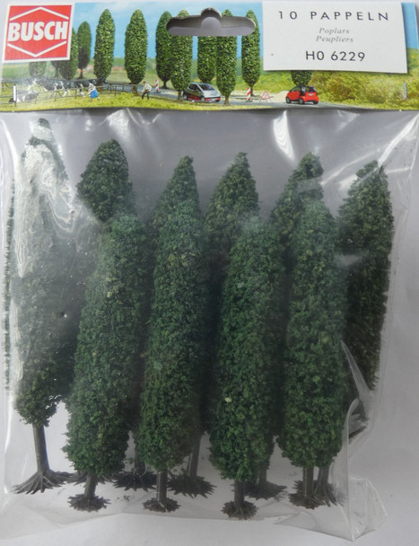 BUSCH 6229 Poplar Trees (10) 9.5cm - 12cm 00/HO