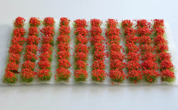 HSS 0407 - Self Adhesive 'Rose Red' Flowered Grass Tufts