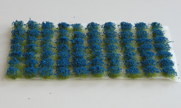 HSS 0409 - Self Adhesive 'Peacock Blue' Flowered Grass Tufts