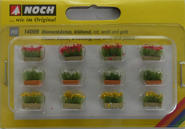 NOCH 14009 Flower Boxes (Red, Yellow & White) 00/HO