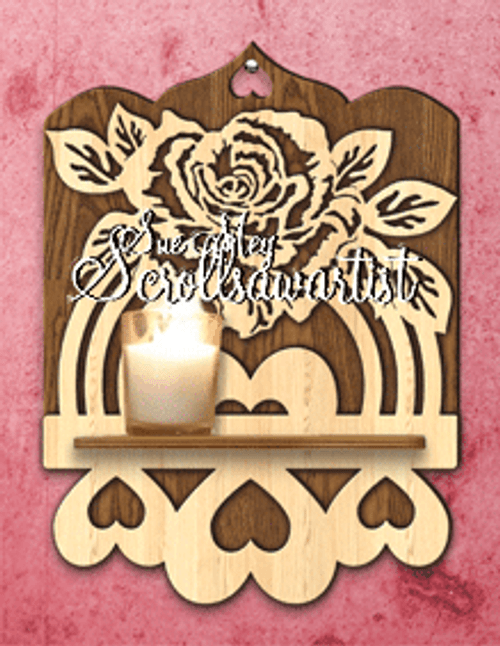 Scroll saw rose & hearts shelf