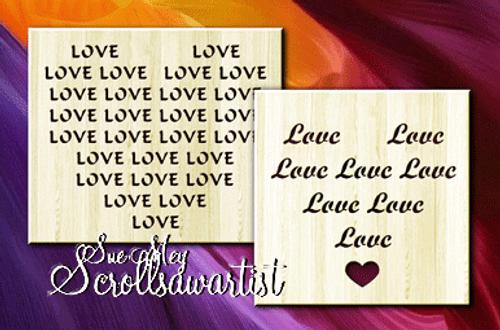 Love text hearts