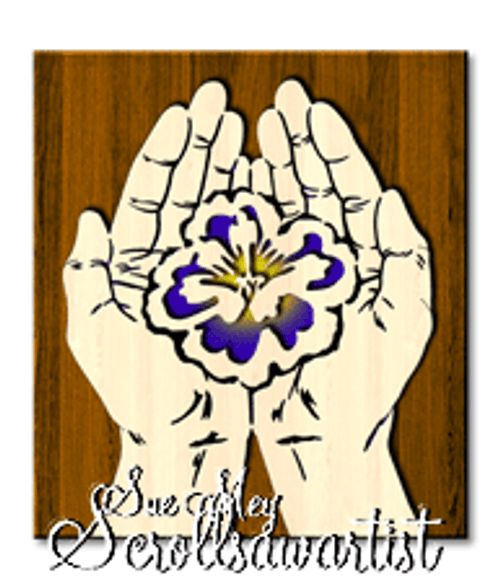Scroll saw pattern Cupped hands - Flower
