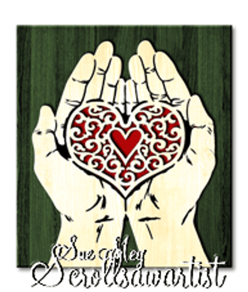 Scroll saw pattern Cupped hands - Heart