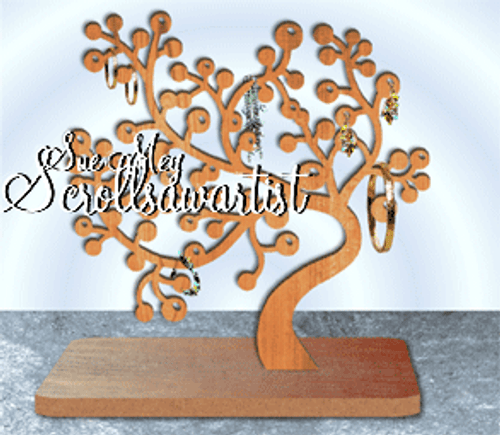 Scroll saw pattern Berry branch jewelry stand