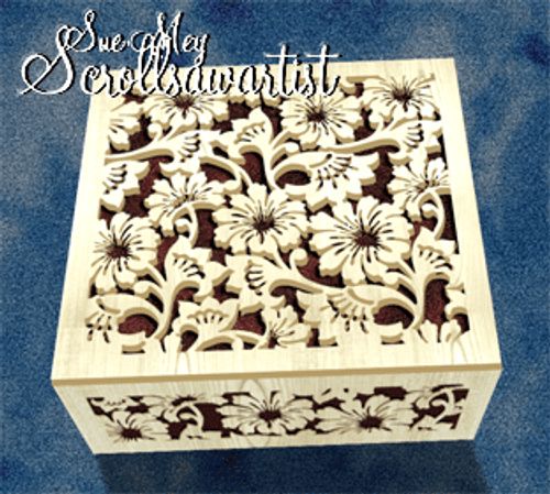 Floral box with fret lid and sides #2