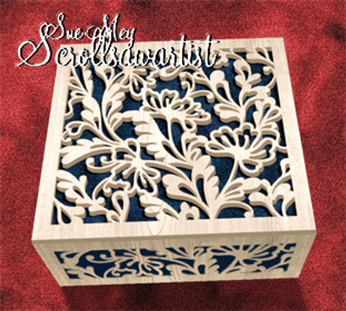 Floral box with fret lid and sides #3