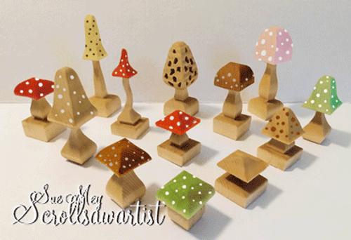 Compound-cut mushrooms