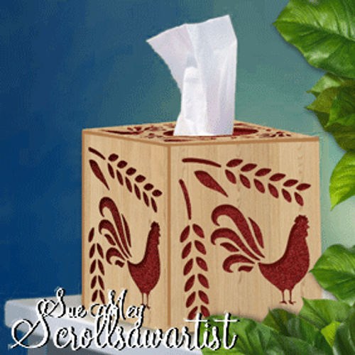 Cube tissue box cover - rooster