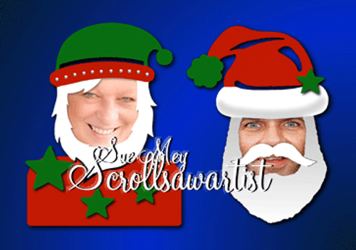 Elf and Santa masks/photo frames