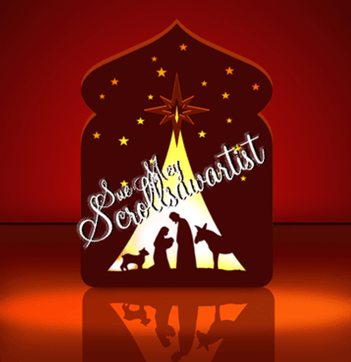 Lighted nativity silhouette