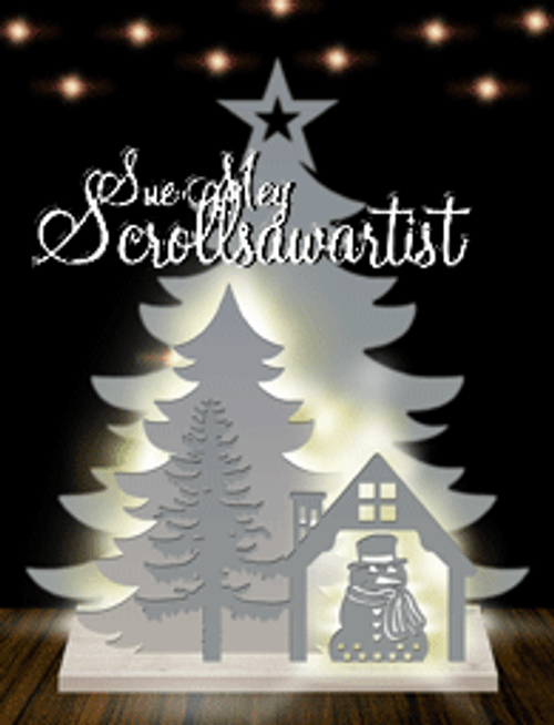 Lighted two-layer tree - Snowman scene