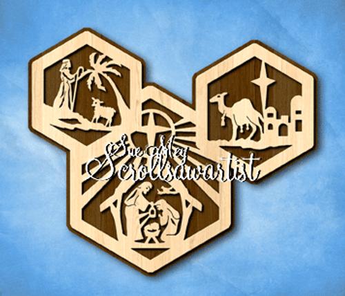 Hexagons plaque - Nativity