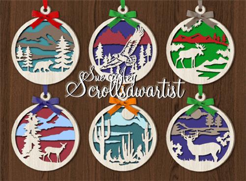 Layered wildlife ornaments