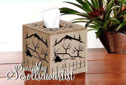 Cube tissue box cover - winter scene