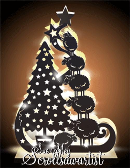 Lighted Christmas tree & sheep