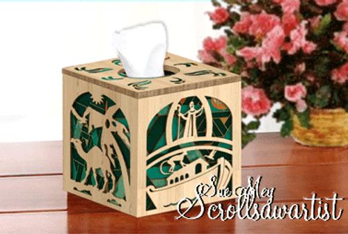 Cube tissue box cover - Noah's ark