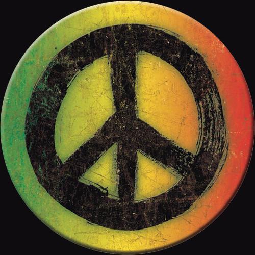 Magnet Rasta Peace Sign Round