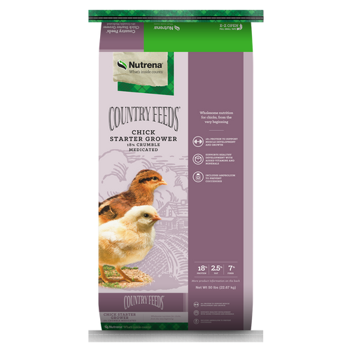 Nutrena Country Feeds Chick Starter Grower 18% Crumbles Medicated