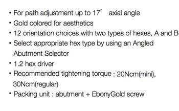 Angled Abutments, standard