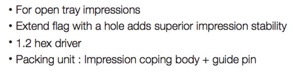 Open Tray Impression Copings, Mini