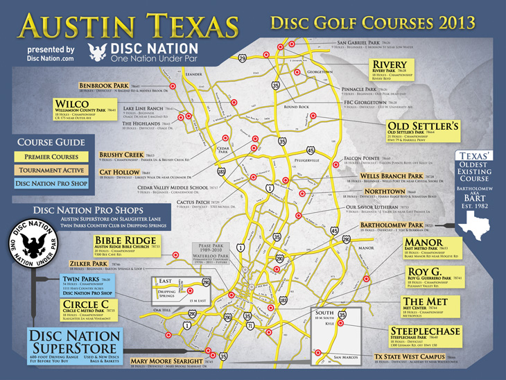 picture about Printable Map of Austin named Austin Disc Golfing Program Map