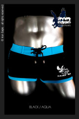Iron Eagle Low Rise Trunks - Black/Aqua